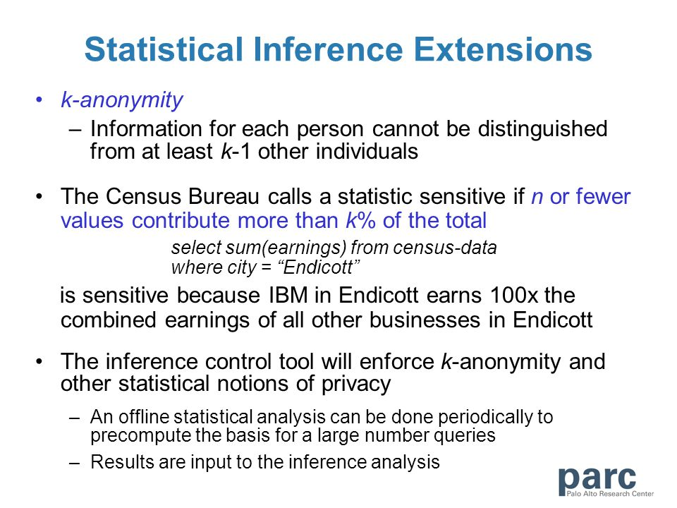 Statistical Inference Extensions k-anonymity –Information for each person cannot be distinguished from at least k-1 other individuals The Census Burea