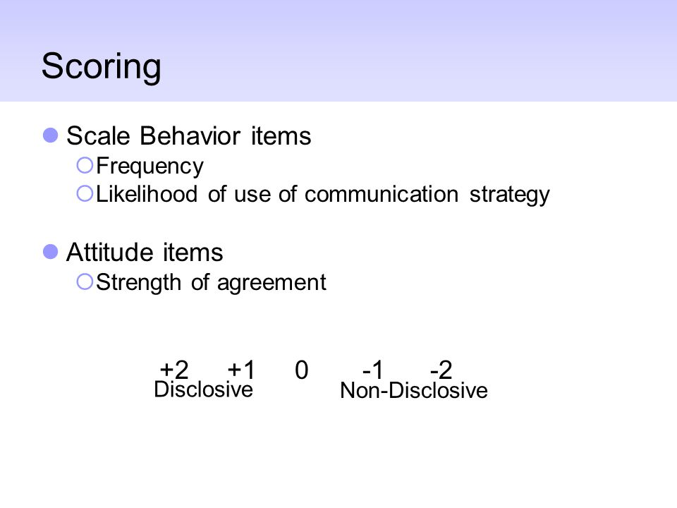 Scoring Scale Behavior items  Frequency  Likelihood of use of communication strategy Attitude items  Strength of agreement Disclosive Non-Disclosiv