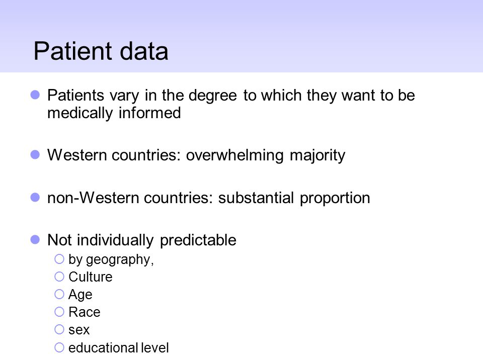 Patient data Patients vary in the degree to which they want to be medically informed Western countries: overwhelming majority non-Western countries: s
