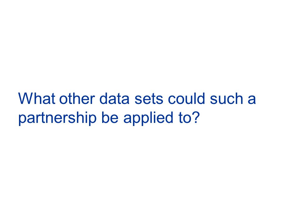 What other data sets could such a partnership be applied to