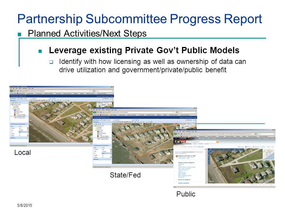 Partnership Subcommittee Progress Report Planned Activities/Next Steps Leverage existing Private Gov't Public Models  Identify with how licensing as well as ownership of data can drive utilization and government/private/public benefit 5/8/2015 Local State/Fed Public