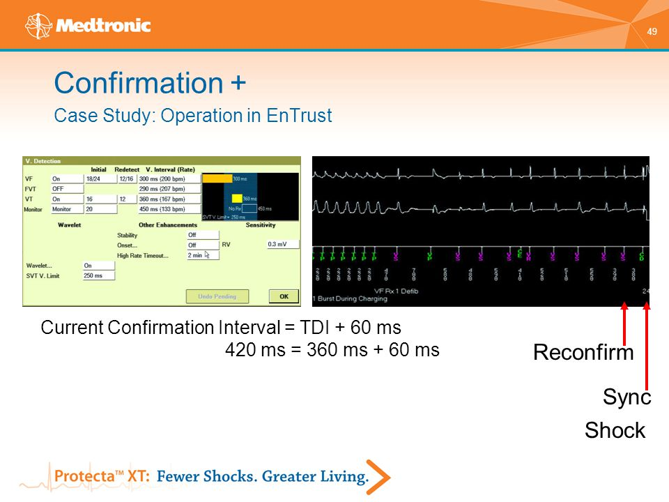 49 Case Study: Operation in EnTrust Current Confirmation Interval = TDI + 60 ms 420 ms = 360 ms + 60 ms Reconfirm Sync Shock Confirmation +
