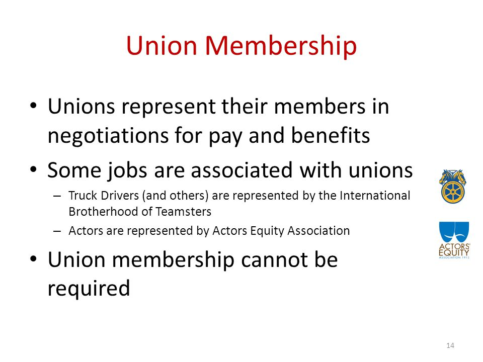 Union Membership Unions represent their members in negotiations for pay and benefits Some jobs are associated with unions – Truck Drivers (and others) are represented by the International Brotherhood of Teamsters – Actors are represented by Actors Equity Association Union membership cannot be required 14