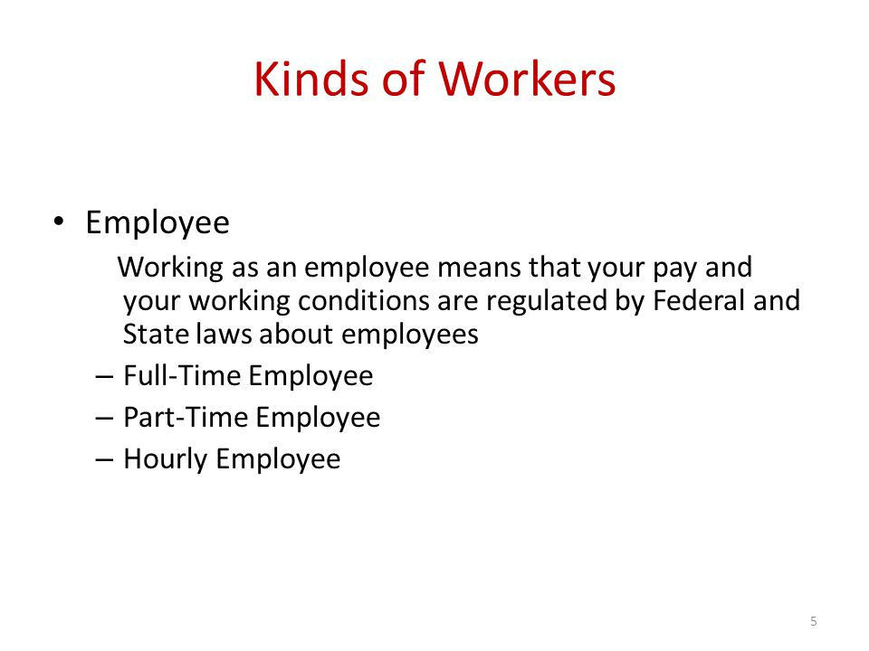 Kinds of Workers Employee Working as an employee means that your pay and your working conditions are regulated by Federal and State laws about employees – Full-Time Employee – Part-Time Employee – Hourly Employee 5