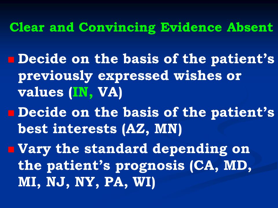 Clear and Convincing Evidence Absent Decide on the basis of the patient's previously expressed wishes or values (IN, VA) Decide on the basis of the patient's best interests (AZ, MN) Vary the standard depending on the patient's prognosis (CA, MD, MI, NJ, NY, PA, WI)