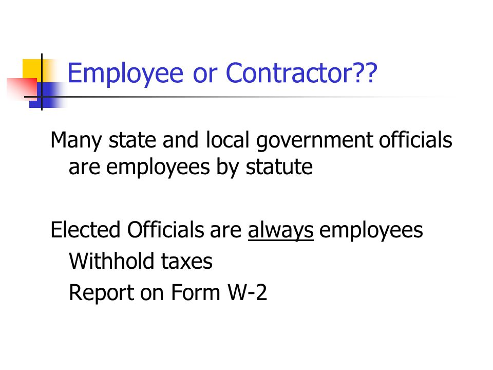 Resources Publication 1779 - determination on status of worker as either an independent contractor or an employee Publication 963 Chapter 3 Revenue Ru
