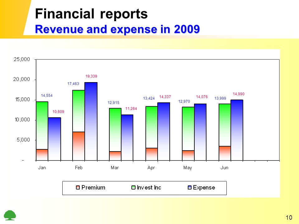 10 Revenue and expense in 2009 Financial reports Revenue and expense in 2009 14,554 10,609 17,463 14,337 19,339 12,915 11,264 13,424 12,970 14,076 13,999 14,990