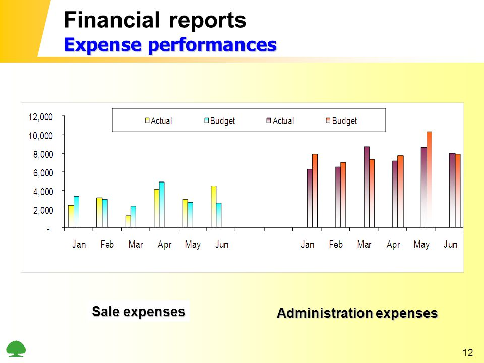 12 Expense performances Financial reports Expense performances Sale expenses Administration expenses