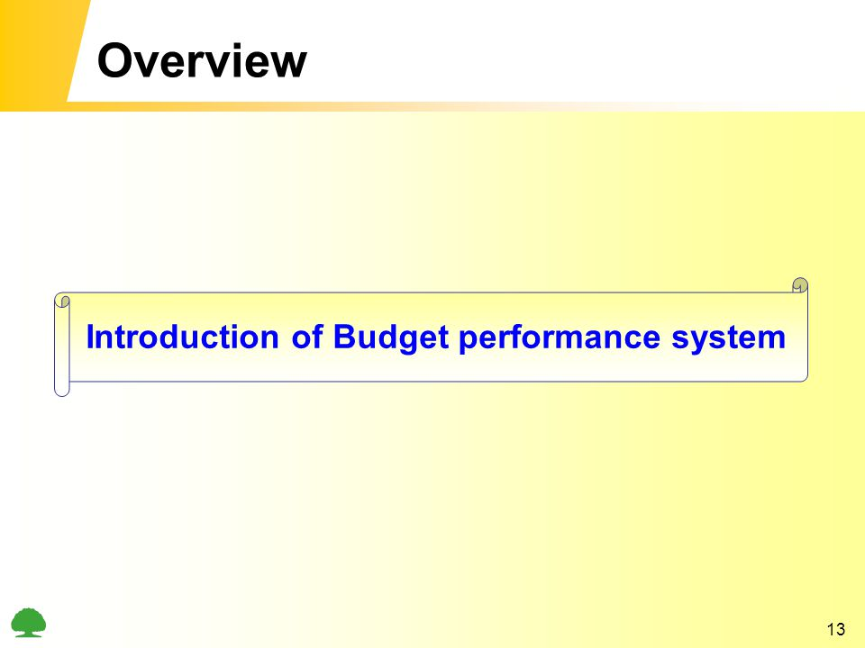 13 Overview Introduction of Budget performance system