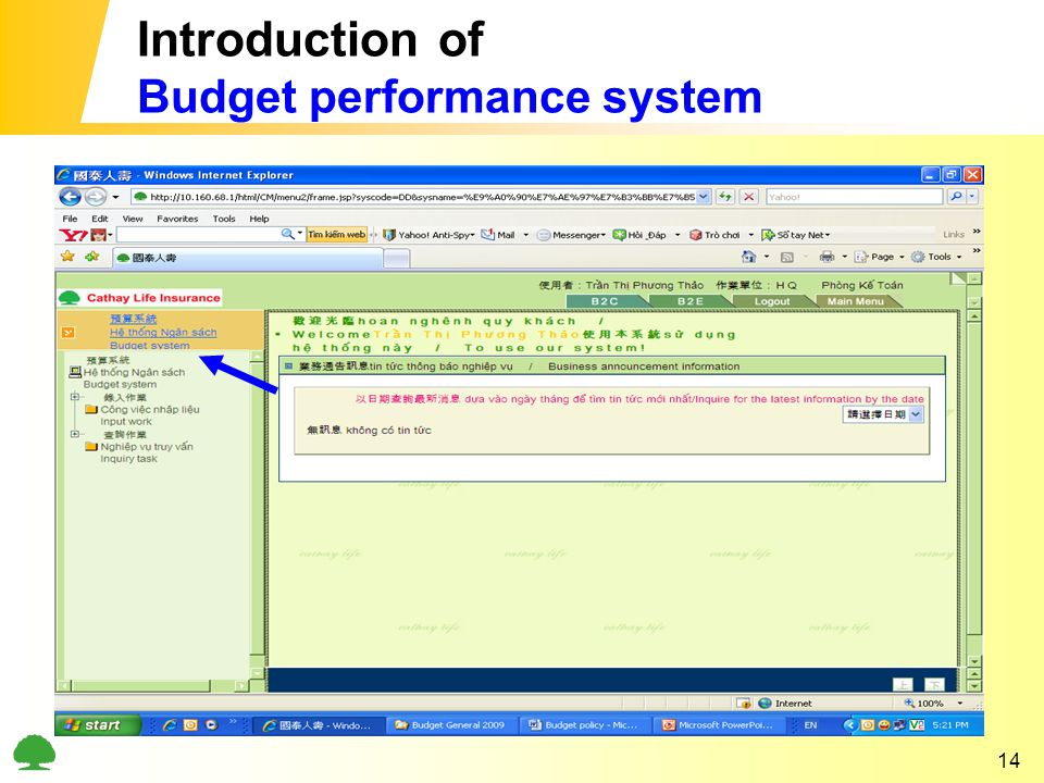 14 Introduction of Budget performance system