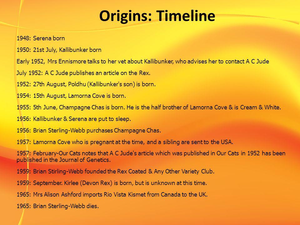 Origins: Timeline 1948: Serena born 1950: 21st July, Kallibunker born Early 1952, Mrs Ennismore talks to her vet about Kallibunker, who advises her to