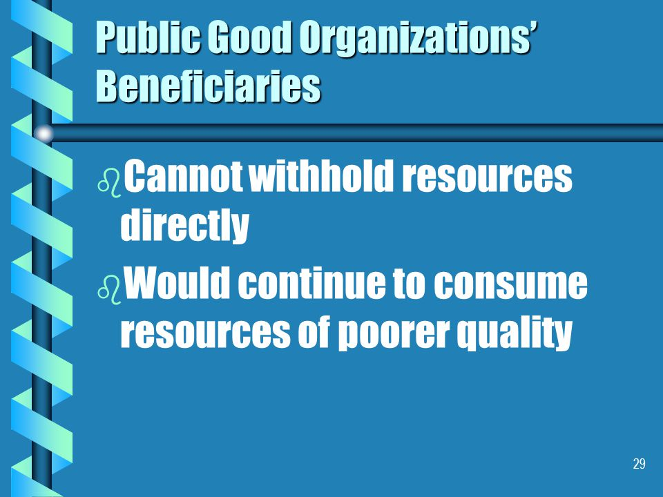 29 Public Good Organizations' Beneficiaries b b Cannot withhold resources directly b b Would continue to consume resources of poorer quality
