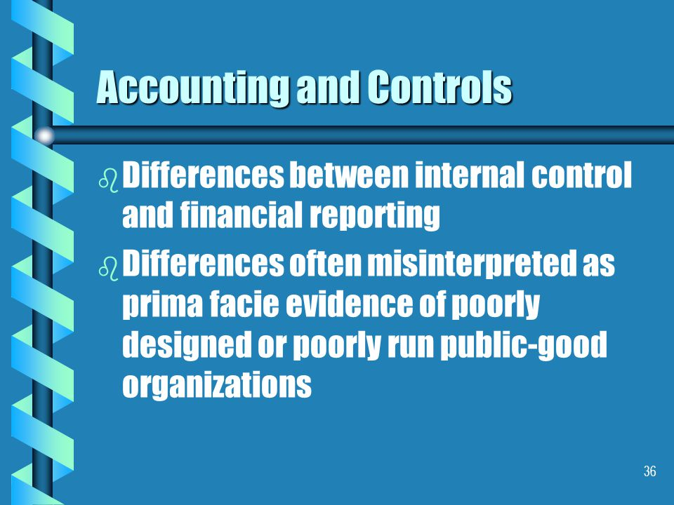 36 Accounting and Controls b b Differences between internal control and financial reporting b b Differences often misinterpreted as prima facie evidence of poorly designed or poorly run public-good organizations