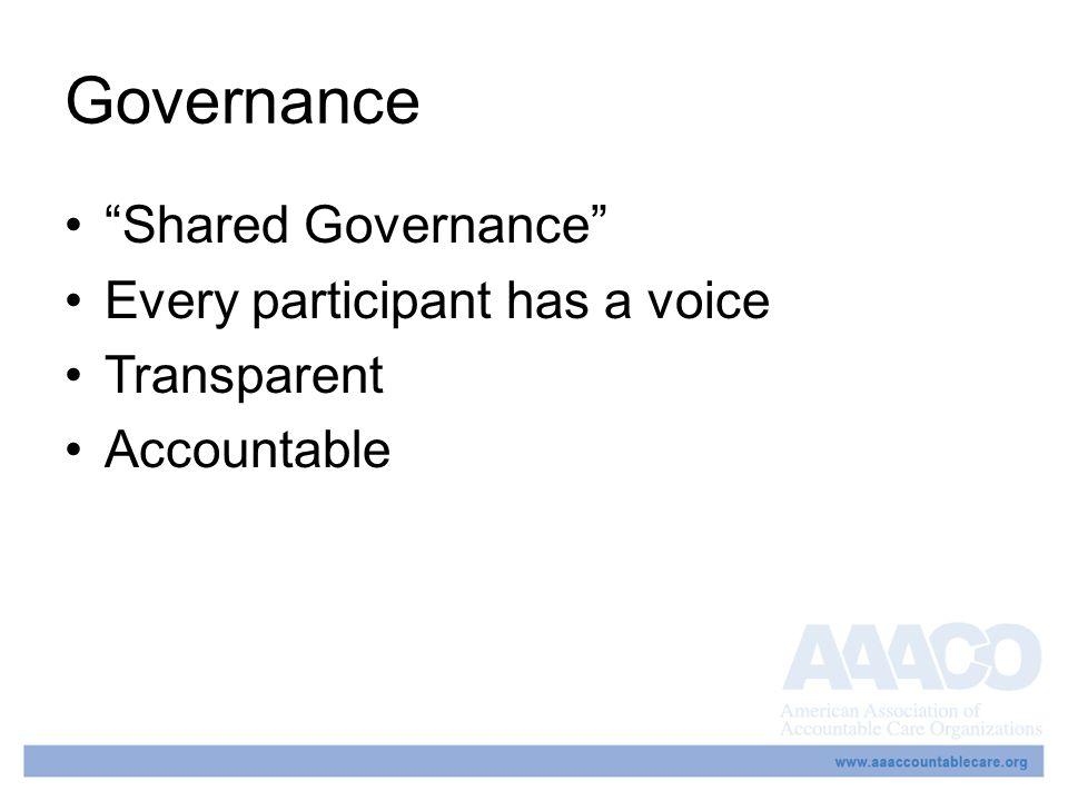 Governance Shared Governance Every participant has a voice Transparent Accountable