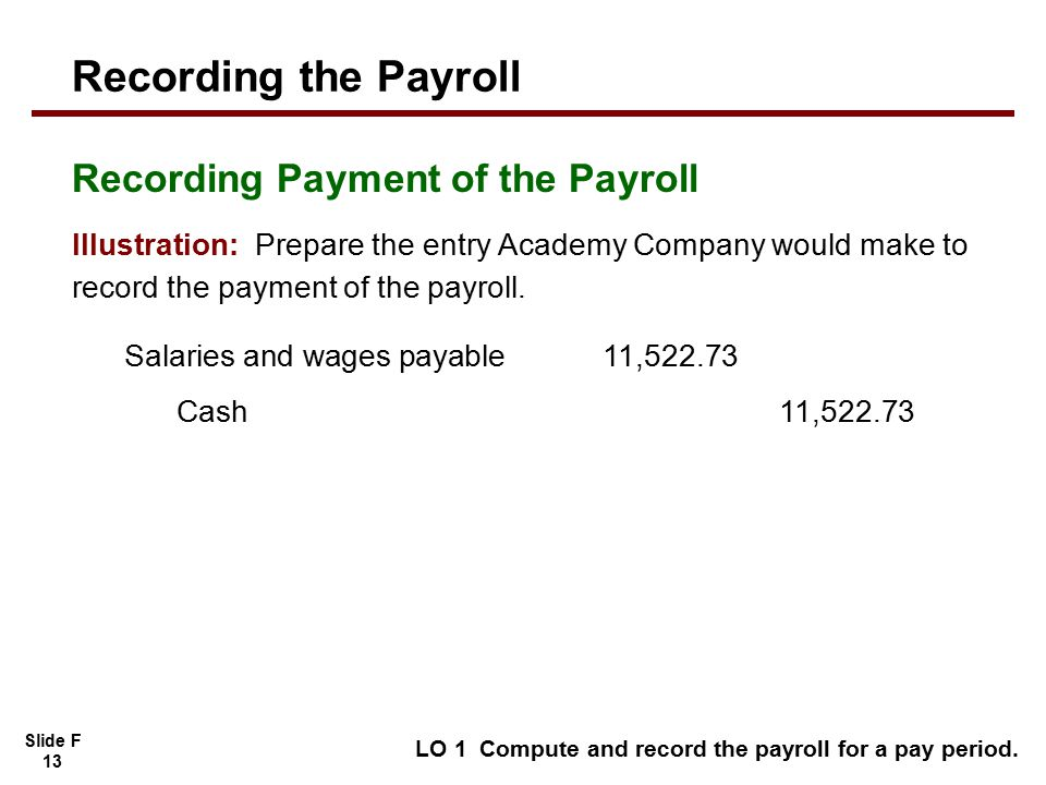 Slide F 13 Illustration: Prepare the entry Academy Company would make to record the payment of the payroll.