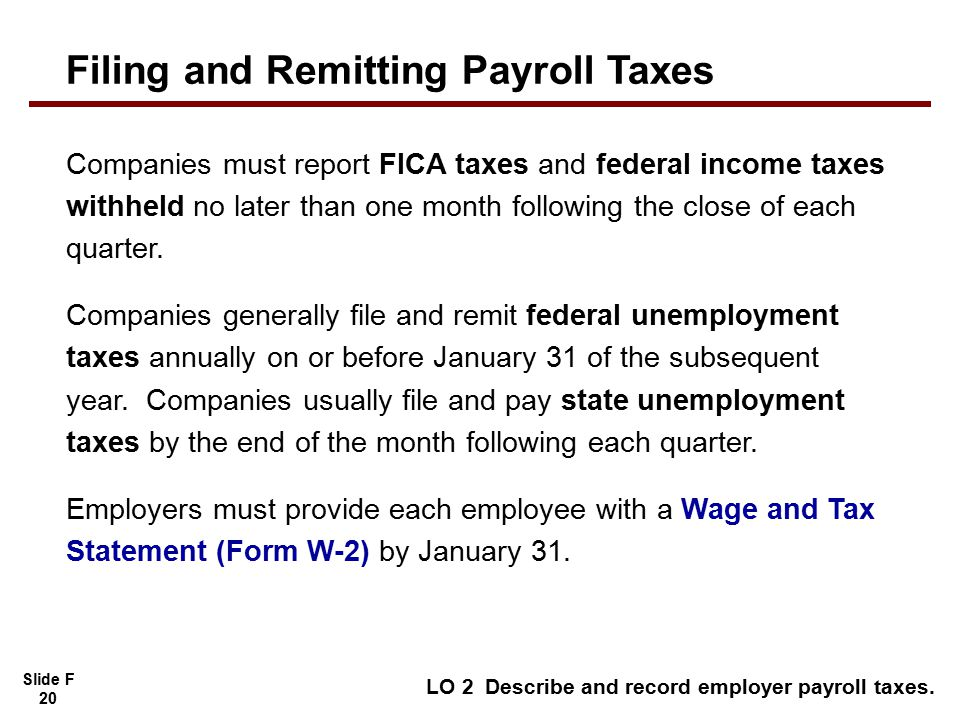 Slide F 20 Companies must report FICA taxes and federal income taxes withheld no later than one month following the close of each quarter.