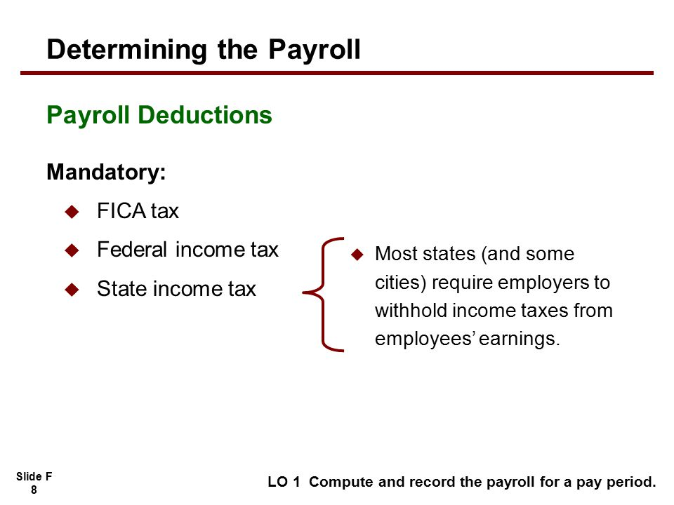 Slide F 8 LO 1 Compute and record the payroll for a pay period.
