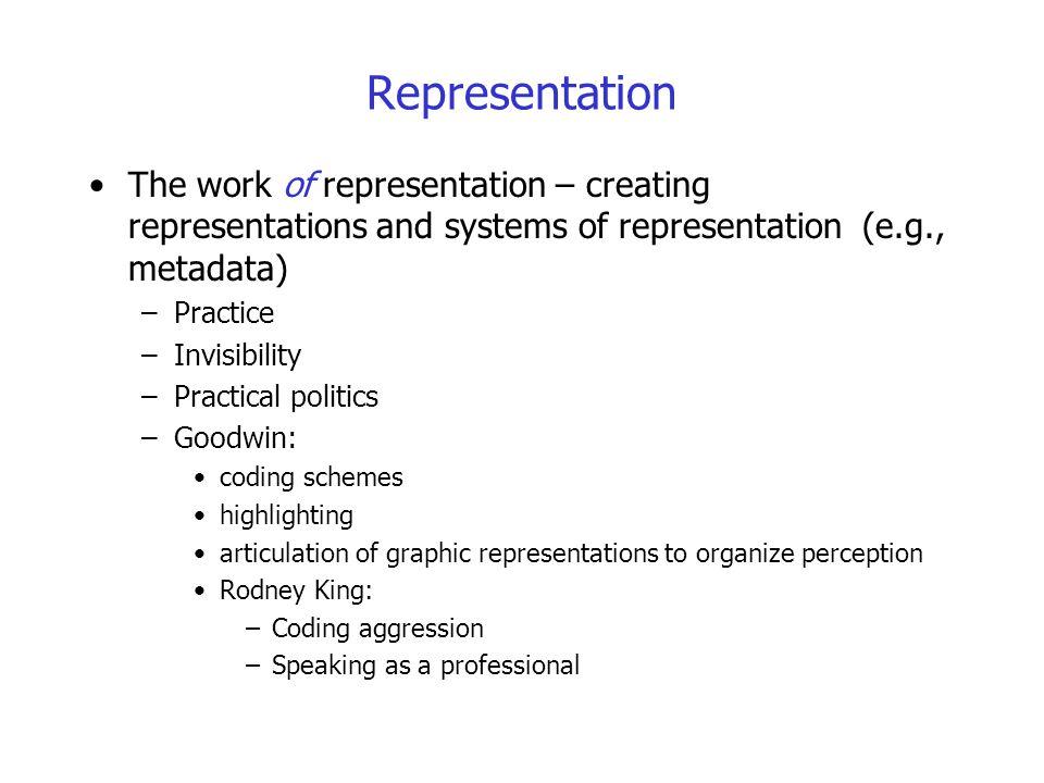 Representation The work of representation – creating representations and systems of representation (e.g., metadata) –Practice –Invisibility –Practical