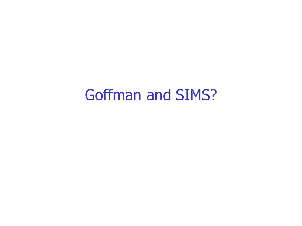 Goffman and SIMS?
