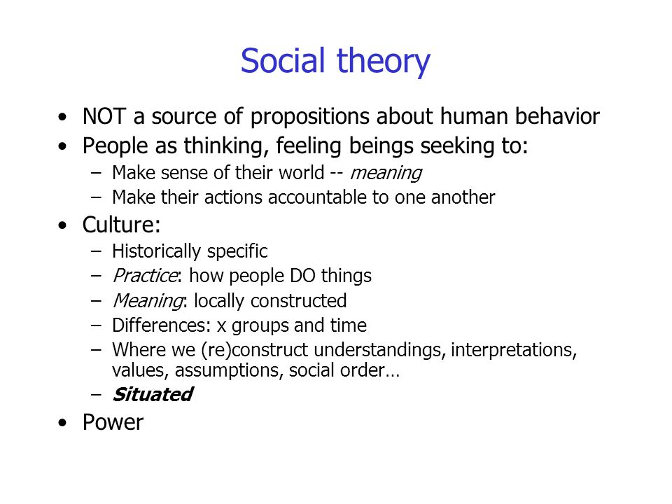 Social theory NOT a source of propositions about human behavior People as thinking, feeling beings seeking to: –Make sense of their world -- meaning –