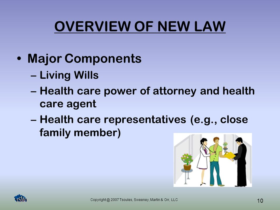 Copyright @ 2007 Tsoules, Sweeney, Martin & Orr, LLC 10 OVERVIEW OF NEW LAW Major Components –Living Wills –Health care power of attorney and health c