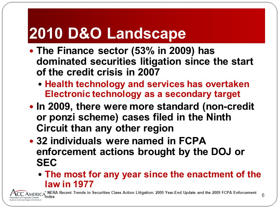 D&O Landscape The Finance sector (53% in 2009) has dominated securities litigation since the start of the credit crisis in 2007 Health technology and services has overtaken Electronic technology as a secondary target In 2009, there were more standard (non-credit or ponzi scheme) cases filed in the Ninth Circuit than any other region 32 individuals were named in FCPA enforcement actions brought by the DOJ or SEC The most for any year since the enactment of the law in 1977 * NERA Recent Trends in Securities Class Action Litigation: 2009 Year-End Update and the 2009 FCPA Enforcement Index