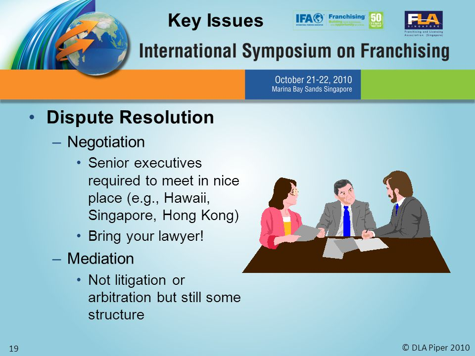 © DLA Piper 2010 19 Dispute Resolution –Negotiation Senior executives required to meet in nice place (e.g., Hawaii, Singapore, Hong Kong) Bring your lawyer.
