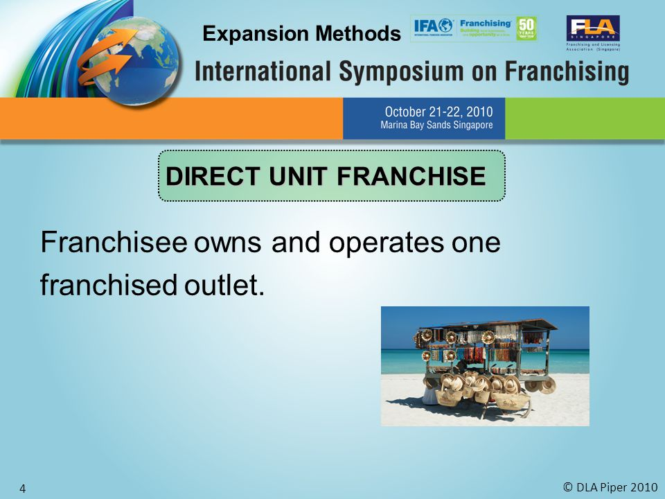 © DLA Piper 2010 4 Franchisee owns and operates one franchised outlet.