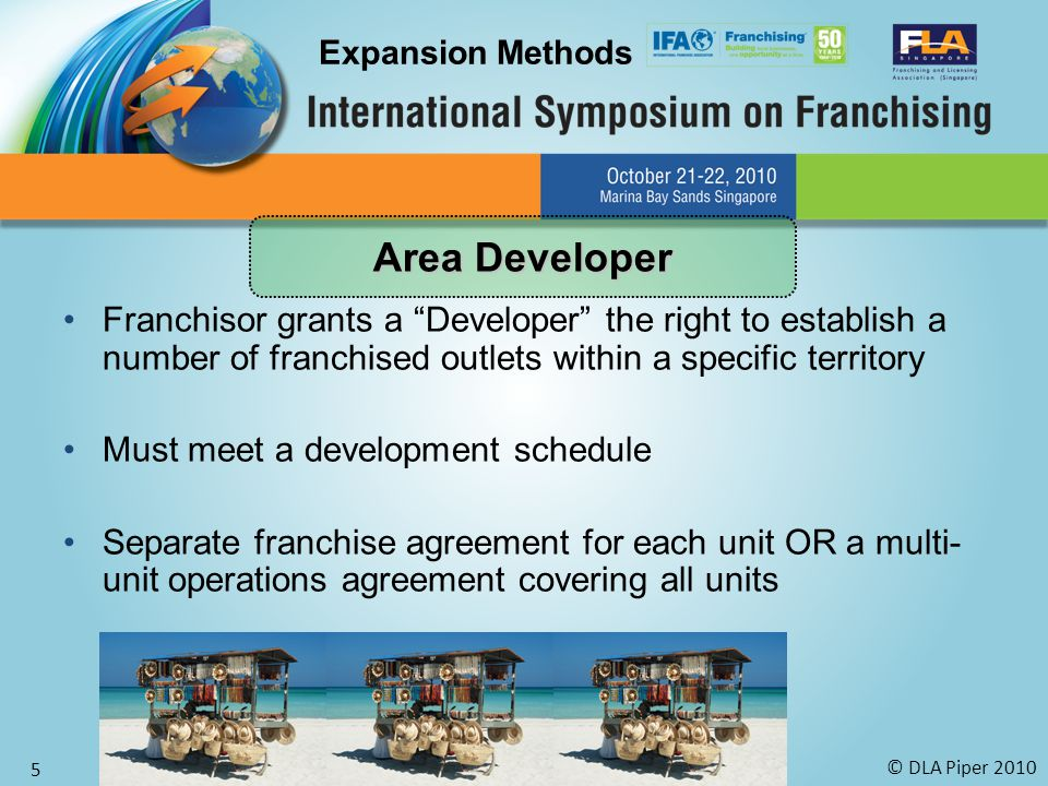 © DLA Piper 2010 5 Franchisor grants a Developer the right to establish a number of franchised outlets within a specific territory Must meet a development schedule Separate franchise agreement for each unit OR a multi- unit operations agreement covering all units Expansion Methods Area Developer