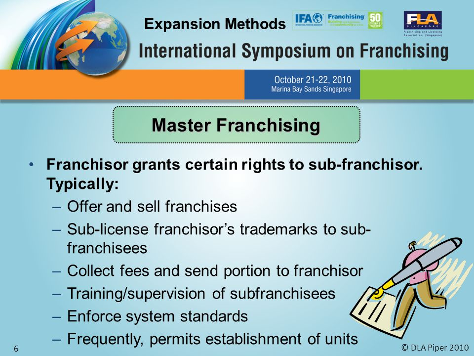© DLA Piper 2010 6 Franchisor grants certain rights to sub-franchisor. Typically: –Offer and sell franchises –Sub-license franchisor's trademarks to s
