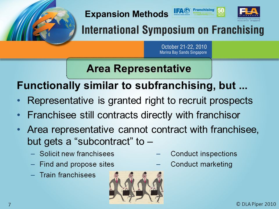 © DLA Piper 2010 7 Functionally similar to subfranchising, but... Representative is granted right to recruit prospects Franchisee still contracts dire