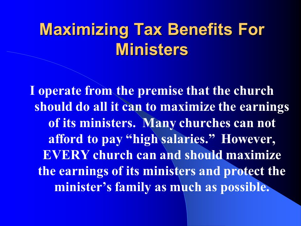 To Repeat----Ministers Should Receive a W-2 What is appropriate…..