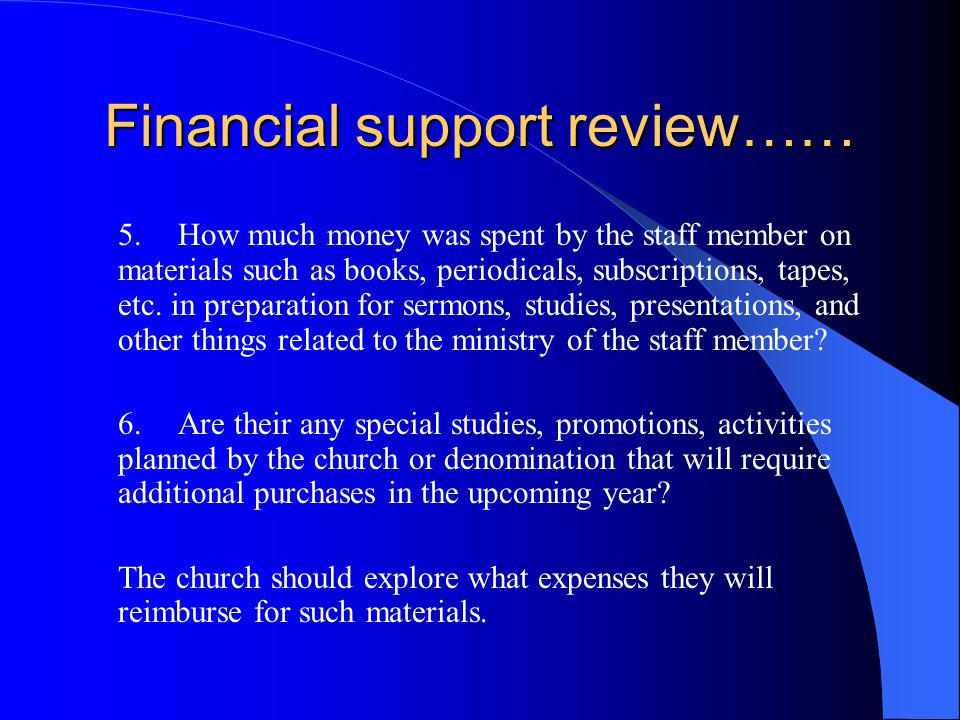 Financial support review…… 3.