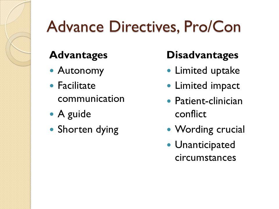 Advance Directives, Pro/Con Advantages Autonomy Facilitate communication A guide Shorten dying Disadvantages Limited uptake Limited impact Patient-cli