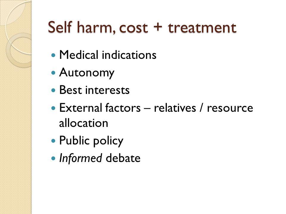 Self harm, cost + treatment Medical indications Autonomy Best interests External factors – relatives / resource allocation Public policy Informed deba
