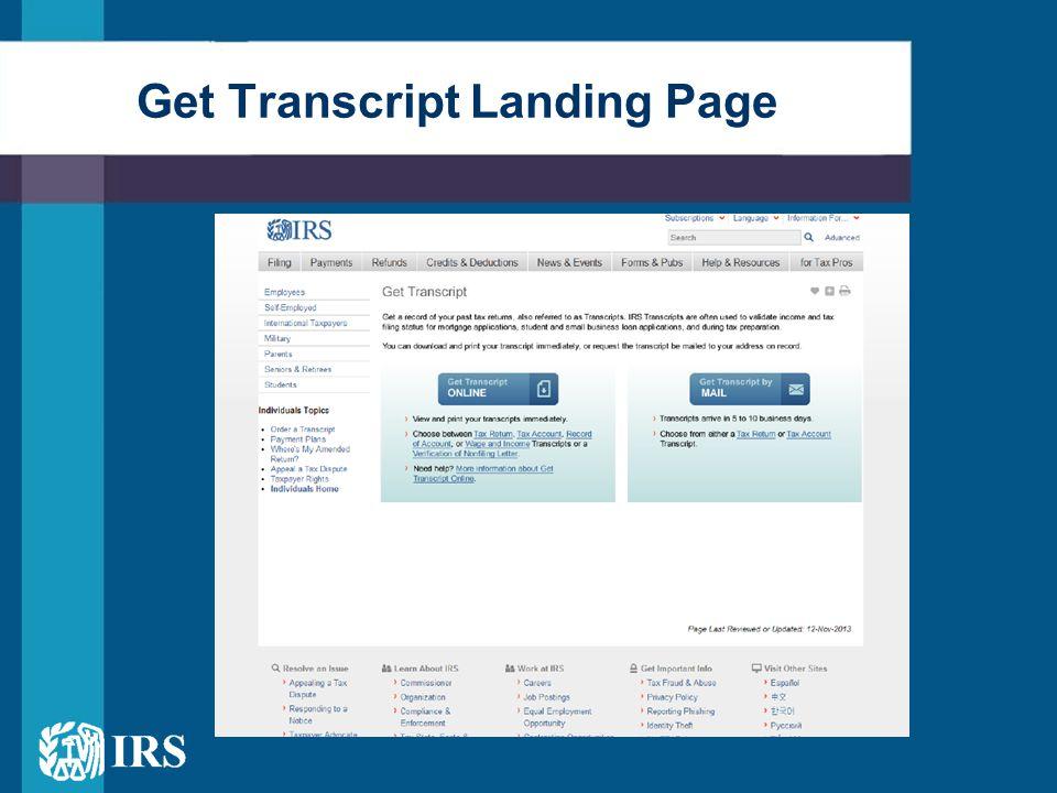 Get Transcript Landing Page