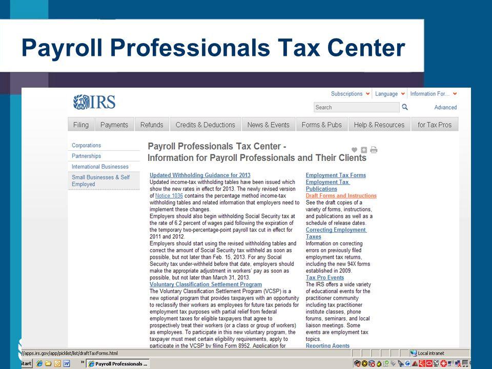 Payroll Professionals Tax Center