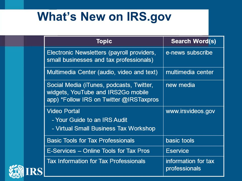 What's New on IRS.gov TopicSearch Word(s) Electronic Newsletters (payroll providers, small businesses and tax professionals) e-news subscribe Multimed