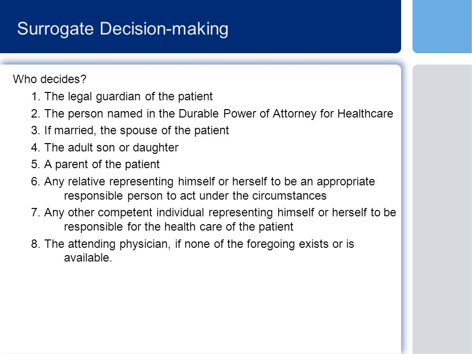 Surrogate Decision-making Who decides. 1. The legal guardian of the patient 2.