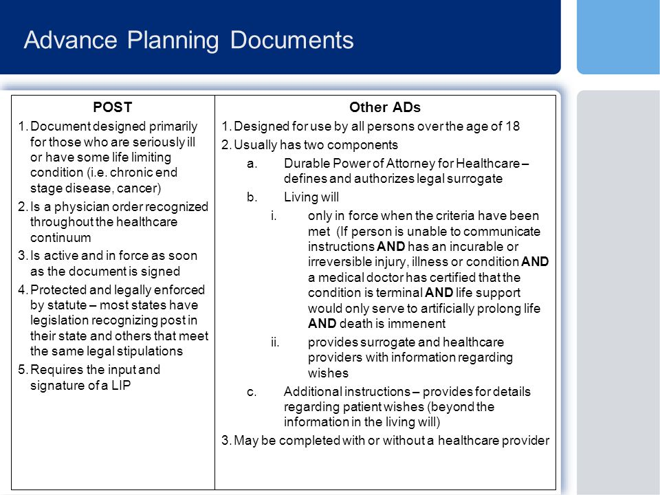Advance Planning Documents POST 1.Document designed primarily for those who are seriously ill or have some life limiting condition (i.e.
