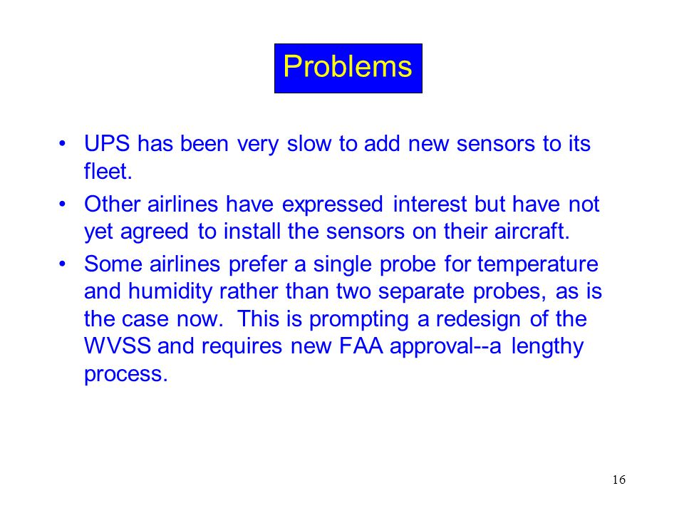16 Problems UPS has been very slow to add new sensors to its fleet. Other airlines have expressed interest but have not yet agreed to install the sens