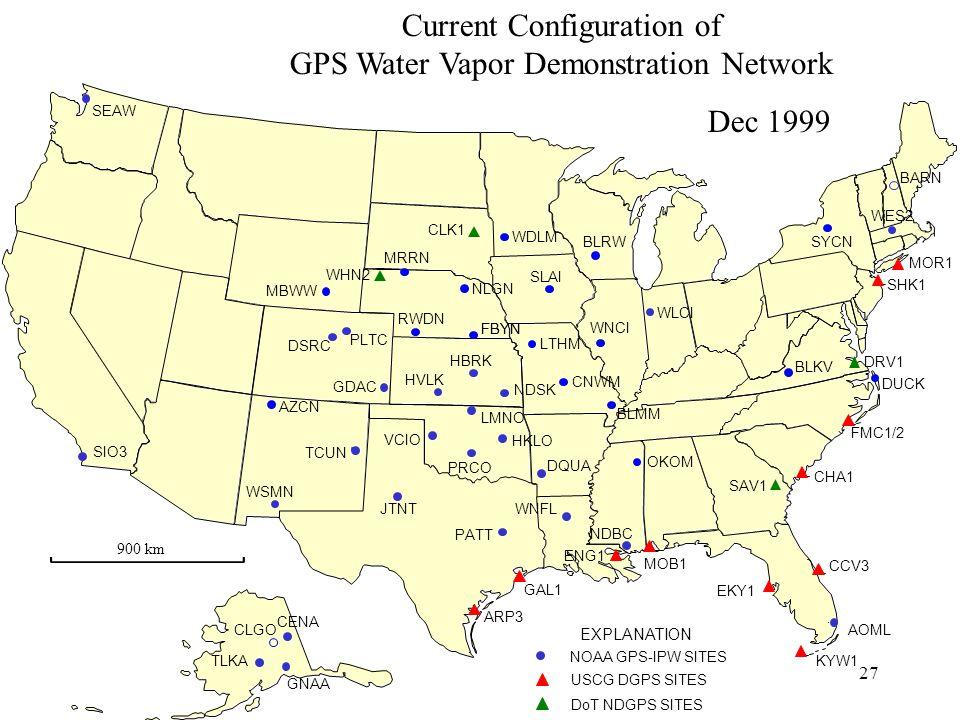 27 Current Configuration of GPS Water Vapor Demonstration Network Dec 1999