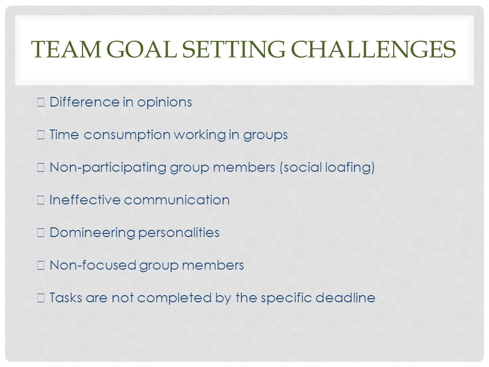 TEAM GOAL SETTING CHALLENGES  Difference in opinions  Time consumption working in groups  Non-participating group members (social loafing)  Ineffe