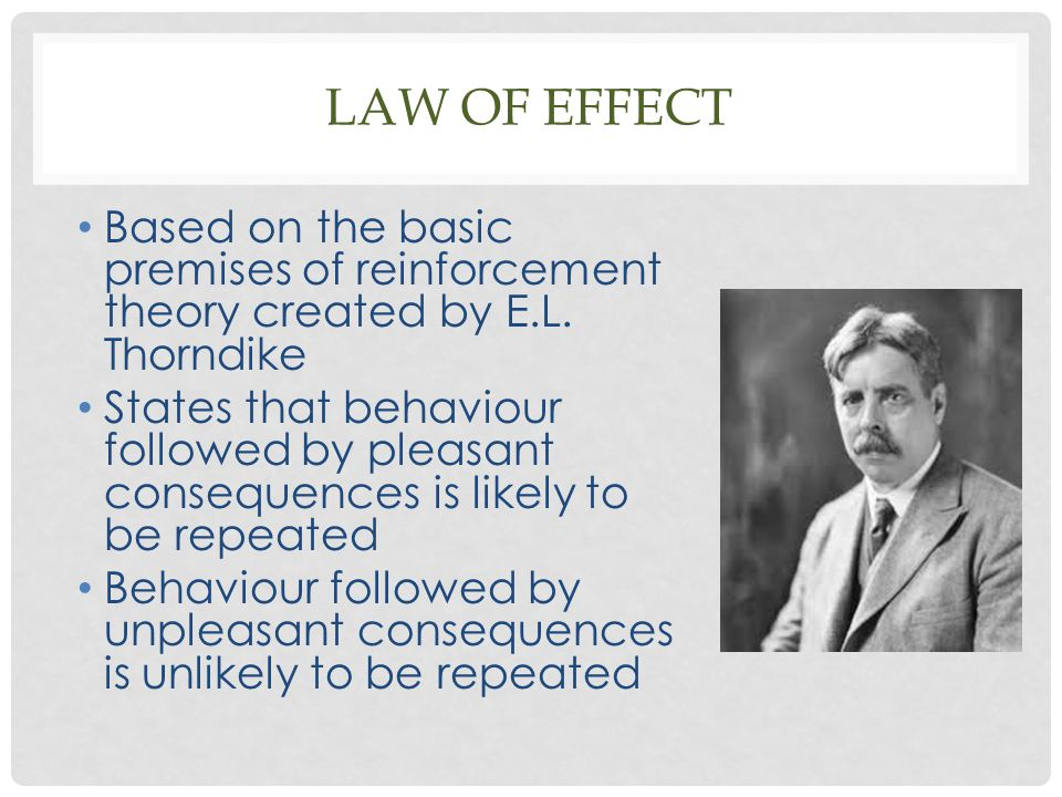 LAW OF EFFECT Based on the basic premises of reinforcement theory created by E.L. Thorndike States that behaviour followed by pleasant consequences is