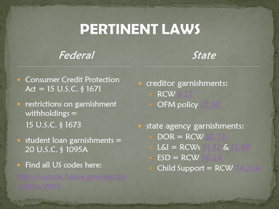 Federal Consumer Credit Protection Act = 15 U.S.C.