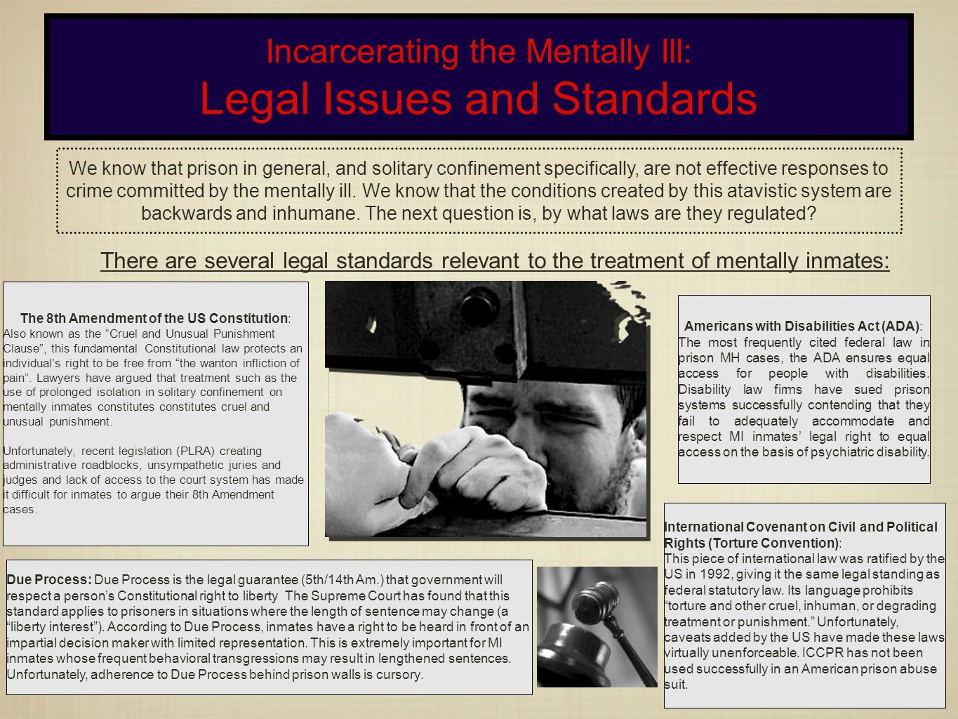 Incarcerating the Mentally Ill: Legal Issues and Standards We know that prison in general, and solitary confinement specifically, are not effective responses to crime committed by the mentally ill.