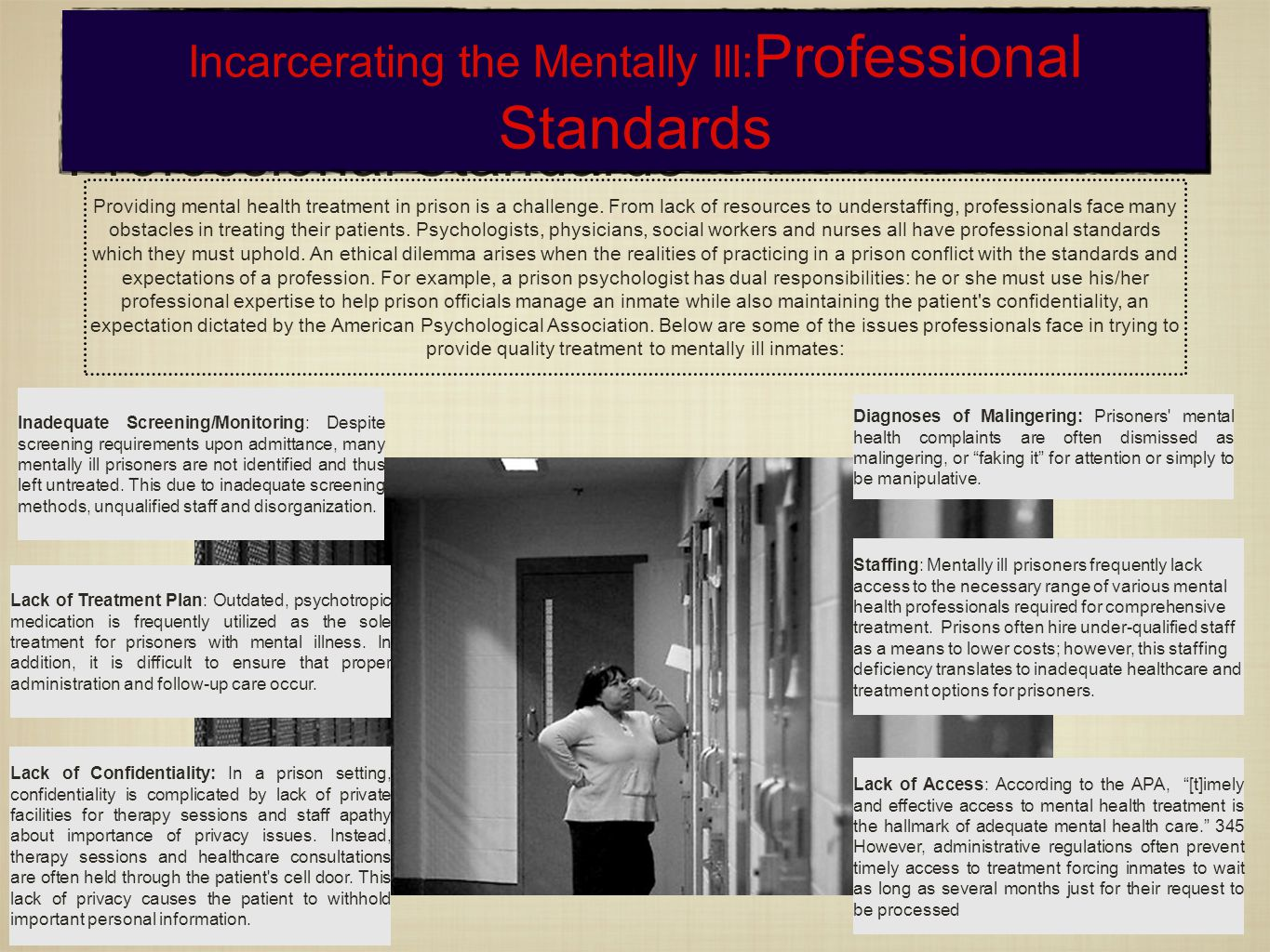 Incarcerating the mentally ill: Professional Standards Incarcerating the Mentally Ill: Professional Standards Providing mental health treatment in prison is a challenge.