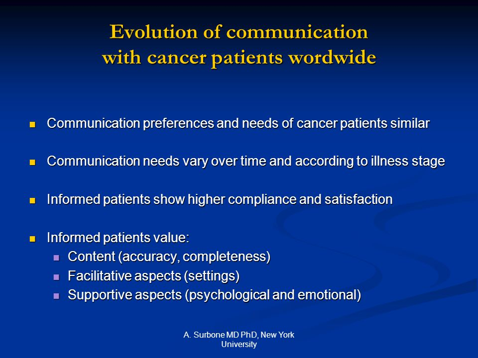 A. Surbone MD PhD, New York University Evolution of communication with cancer patients wordwide Communication preferences and needs of cancer patients