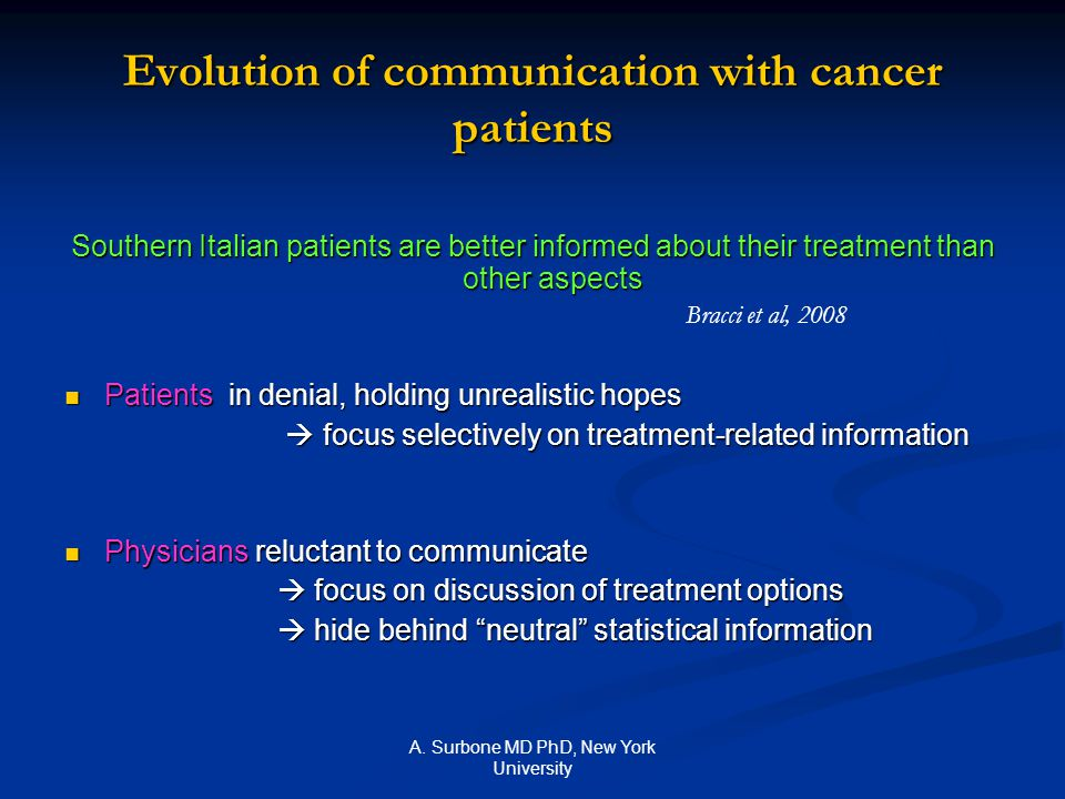 A. Surbone MD PhD, New York University Evolution of communication with cancer patients Southern Italian patients are better informed about their treat