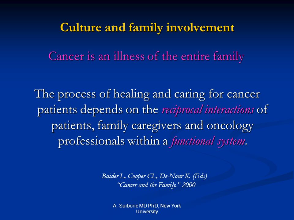 A. Surbone MD PhD, New York University Culture and family involvement Cancer is an illness of the entire family Cancer is an illness of the entire fam